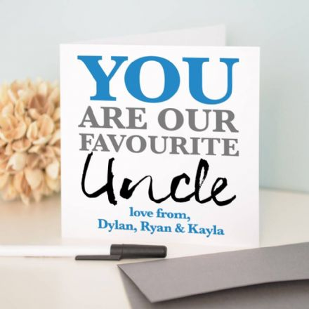 Personalised 'Favourite Uncle' Birthday Card